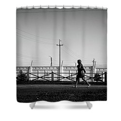 Shower Curtain featuring the photograph Woman Walking In Industry by John Williams