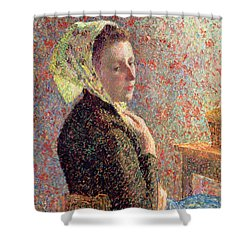 Woman Wearing A Green Headscarf Shower Curtain by Camille Pissarro