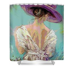 Woman Wearing A Purple Hat Shower Curtain