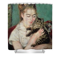Woman With A Cat Shower Curtain by Pierre Auguste Renoir