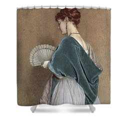 Woman With A Fan Shower Curtain by John Dawson Watson