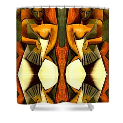 Woman With A Fan X4 Shower Curtain