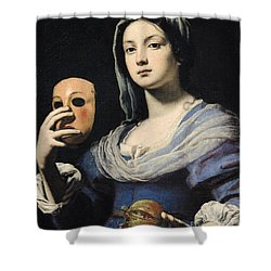 Woman With A Mask Shower Curtain by Lorenzo Lippi