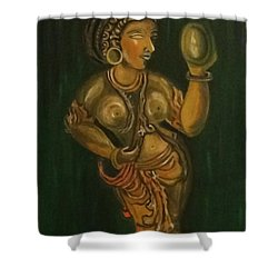 Woman With A Mirror Sculpture Shower Curtain