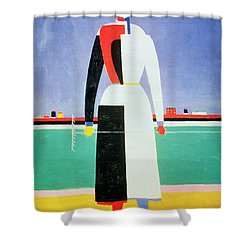 Woman With A Rake Shower Curtain by Kazimir Severinovich Malevich