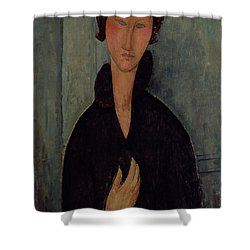 Woman With Blue Eyes Shower Curtain by Amedeo Modigliani