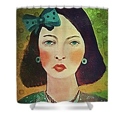 Shower Curtain featuring the digital art Woman With Blue Hair Bow by Alexis Rotella