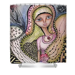Shower Curtain featuring the mixed media Woman With Large Eyes by Prerna Poojara
