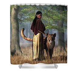 Woman With Mountain Lion Shower Curtain by Daniel Eskridge