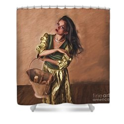 Shower Curtain featuring the photograph Woman With Pail  ... by Chuck Caramella