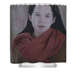 Woman With Scarf Shower Curtain