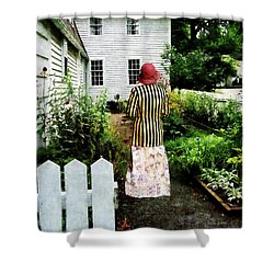 Woman With Striped Jacket And Flowered Skirt Shower Curtain by Susan Savad