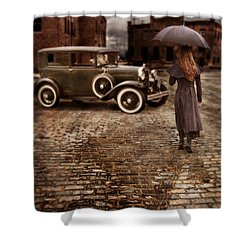 Woman With Umbrella By Vintage Car Shower Curtain
