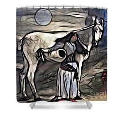 Shower Curtain featuring the digital art Woman With White Horse by Alexis Rotella