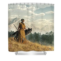 Woman With Wolf Shower Curtain