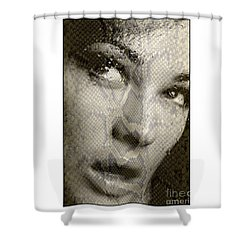 Shower Curtain featuring the photograph Womans Face With Water And Snake Texture by Michael Edwards