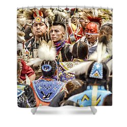 Women And Men Meet Shower Curtain by Clarice Lakota