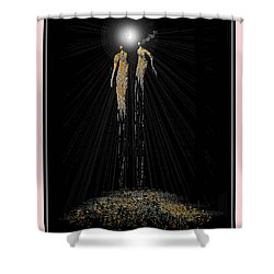 Women Chanting - Full Moon On The Mountain Shower Curtain