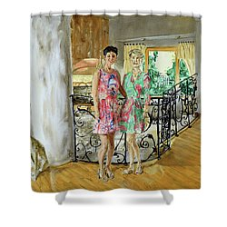 Women In Sunroom Shower Curtain