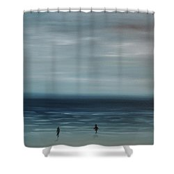 Shower Curtain featuring the painting Women On The Beach by Tone Aanderaa