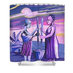 Women Pounding Cassava Shower Curtain by Emmanuel Baliyanga