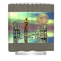 Shower Curtain featuring the digital art Women Waiting For The Perfect Man by Claude McCoy