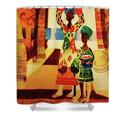 Women With Baskets Shower Curtain by Marilyn Jacobson