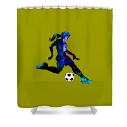 Womens Girls Soccer Collection Shower Curtain