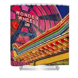 Wonder Wheel At Coney Island Shower Curtain by Susan Candelario