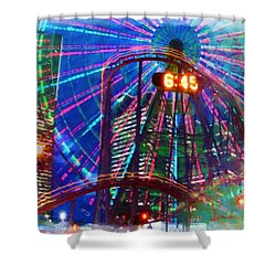 Wonder Wheel At The Coney Island Amusement Park Shower Curtain by Lanjee Chee