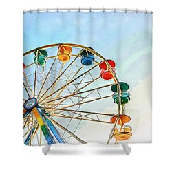 Shower Curtain featuring the painting Wonder Wheel by Edward Fielding
