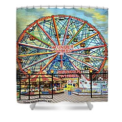 Wonder Wheel Image For Towel Shower Curtain