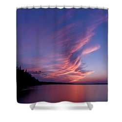 Shower Curtain featuring the photograph Wonderful Skeleton Lake Sunset by Darcy Michaelchuk