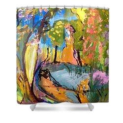 Wondering In The Garden Shower Curtain by Judith Desrosiers