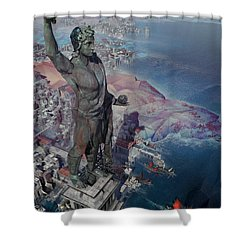 wonders the Colossus of Rhodes Shower Curtain