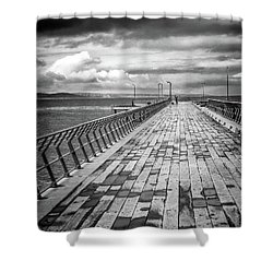 Shower Curtain featuring the photograph Wood And Pier by Perry Webster