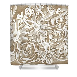 Wood And White Floral- Art By Linda Woods Shower Curtain by Linda Woods
