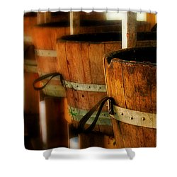 Wood Barrels Shower Curtain by Perry Webster