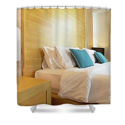 Shower Curtain featuring the photograph Wood Bed by Atiketta Sangasaeng