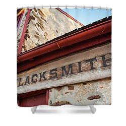 Wood Blacksmith Sign On Building Shower Curtain