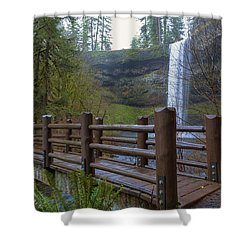 Wood Bridge At Silver Falls State Park Shower Curtain