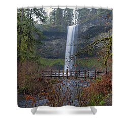 Wood Bridge On Hiking Trail At Silver Falls State Park Shower Curtain