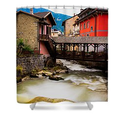Wood Bridge On The River Shower Curtain