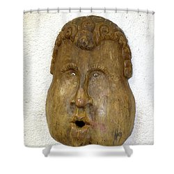 Shower Curtain featuring the photograph Wood Carved Face by Francesca Mackenney