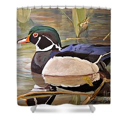 Wood Duck On Pond Shower Curtain