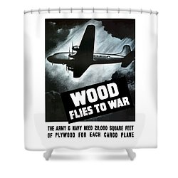 Wood Flies To War Shower Curtain by War Is Hell Store