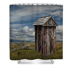 Wood Outhouse Out West Shower Curtain by Randall Nyhof