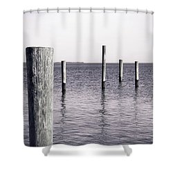 Shower Curtain featuring the photograph Wood Pilings In Monotone by Colleen Kammerer