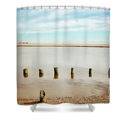 Shower Curtain featuring the photograph Wood Pilings In Shallow Waters by Colleen Kammerer