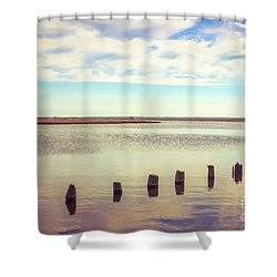 Shower Curtain featuring the photograph Wood Pilings In Still Water by Colleen Kammerer